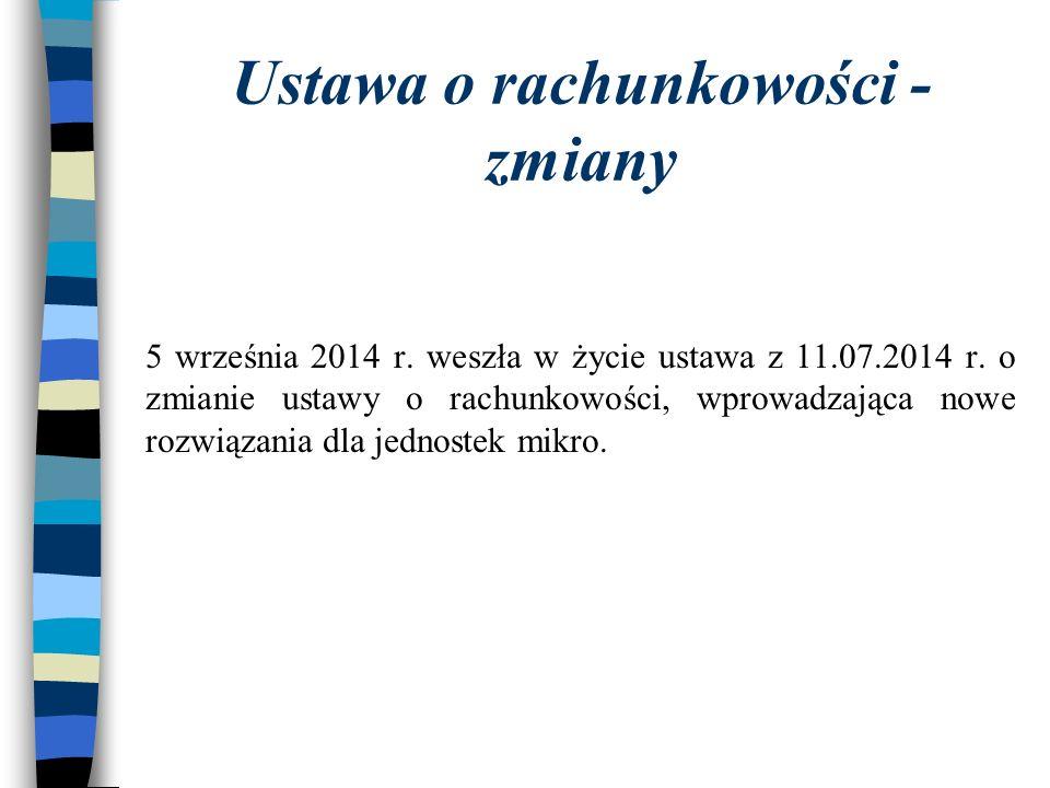 Ustawa o rachunkowości - zmiany 5 września 2014 r.