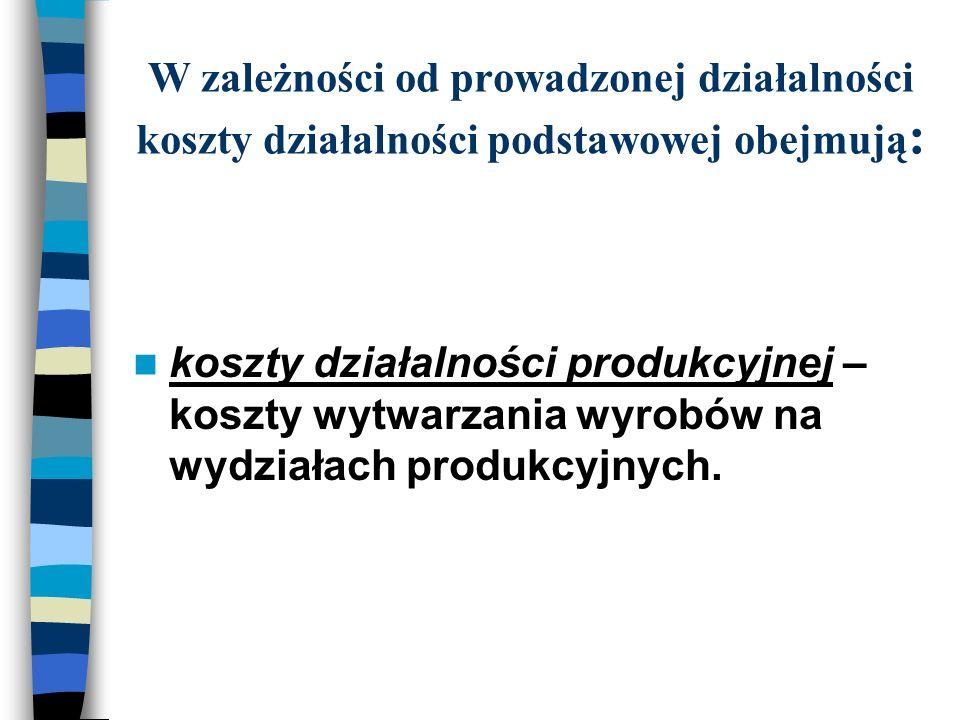 W zależności od prowadzonej działalności koszty działalności podstawowej obejmują : koszty działalności produkcyjnej – koszty wytwarzania wyrobów na wydziałach produkcyjnych.