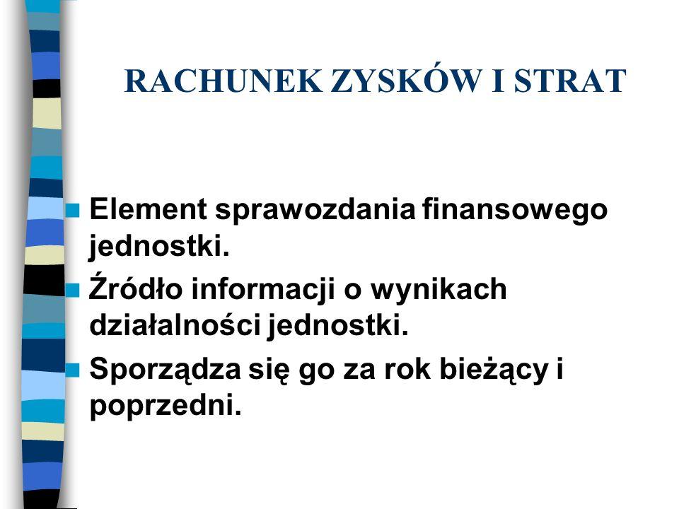 RACHUNEK ZYSKÓW I STRAT Element sprawozdania finansowego jednostki.
