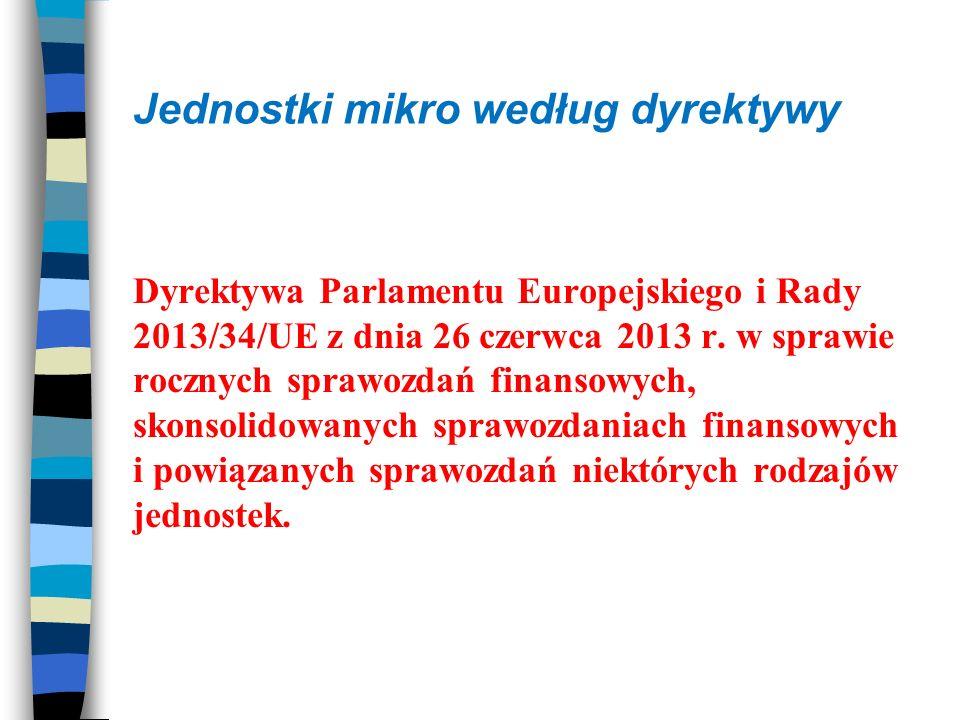Jednostki mikro według dyrektywy Dyrektywa Parlamentu Europejskiego i Rady 2013/34/UE z dnia 26 czerwca 2013 r.