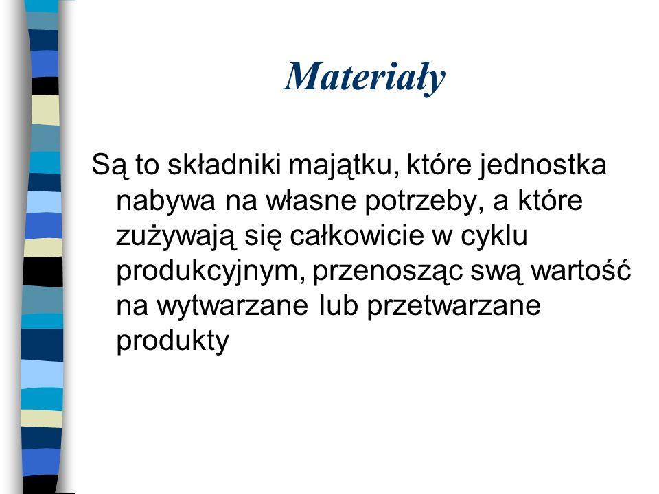 Materiały Są to składniki majątku, które jednostka nabywa na własne potrzeby, a które zużywają się całkowicie w cyklu produkcyjnym, przenosząc swą wartość na wytwarzane lub przetwarzane produkty