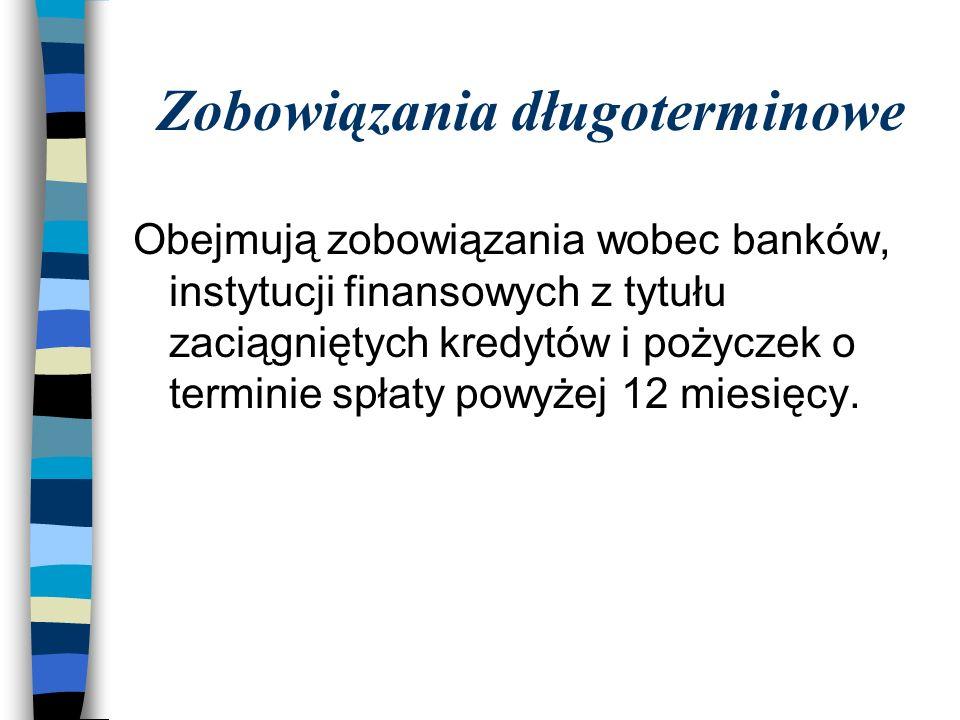 Zobowiązania długoterminowe Obejmują zobowiązania wobec banków, instytucji finansowych z tytułu zaciągniętych kredytów i pożyczek o terminie spłaty powyżej 12 miesięcy.