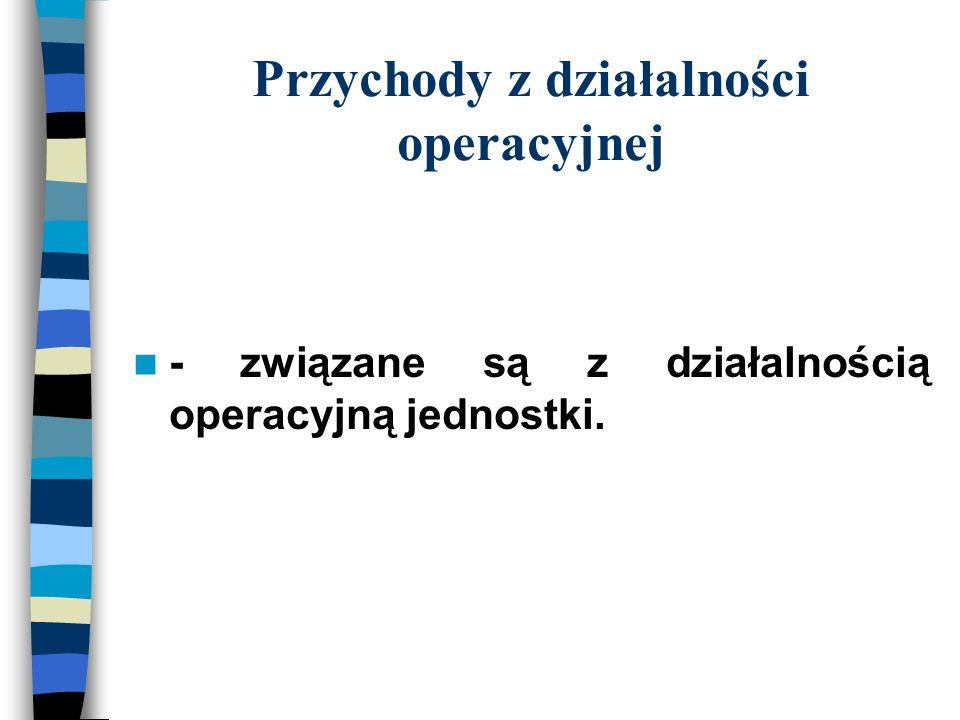 Przychody z działalności operacyjnej - związane są z działalnością operacyjną jednostki.