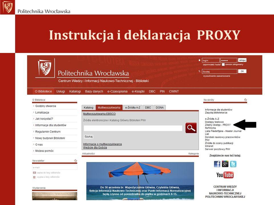 Instrukcja i deklaracja PROXY