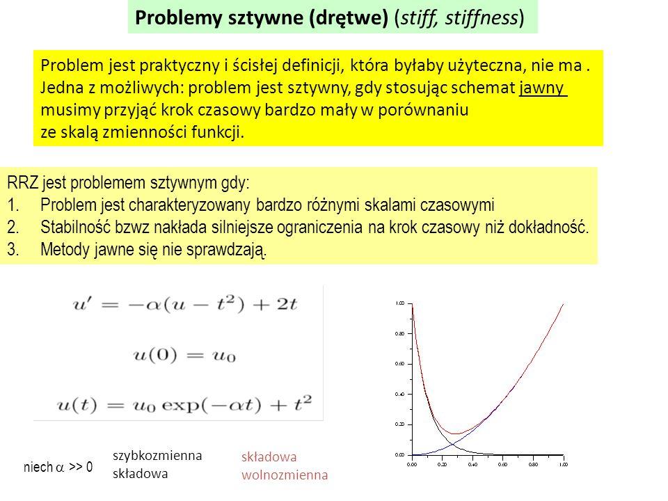 Problemy sztywne (drętwe) (stiff, stiffness) Problem jest praktyczny i ścisłej definicji, która byłaby użyteczna, nie ma.