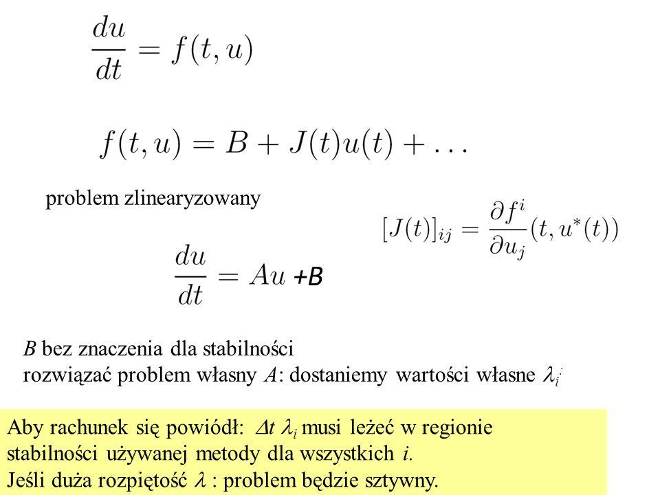 problem zlinearyzowany B bez znaczenia dla stabilności rozwiązać problem własny A: dostaniemy wartości własne i : Aby rachunek się powiódł:  t i musi leżeć w regionie stabilności używanej metody dla wszystkich i.