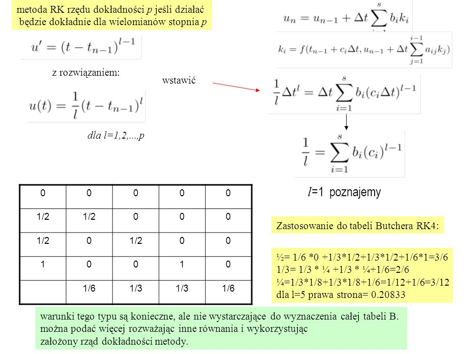 Zastosowanie do tabeli Butchera RK4: metoda RK rzędu dokładności p jeśli działać będzie dokładnie dla wielomianów stopnia p dla l=1,2,...,p z rozwiązaniem: wstawić 00000 1/2 000 0 00 10010 1/61/3 1/6 ½= 1/6 *0 +1/3*1/2+1/3*1/2+1/6*1=3/6 1/3= 1/3 * ¼ +1/3 * ¼+1/6=2/6 ¼=1/3*1/8+1/3*1/8+1/6=1/12+1/6=3/12 dla l=5 prawa strona= 0.20833 warunki tego typu są konieczne, ale nie wystarczające do wyznaczenia całej tabeli B.