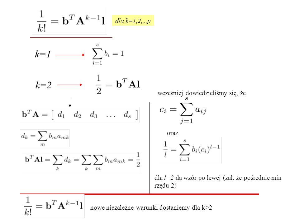 dla k=1,2,..,p k=1 k=2 wcześniej dowiedzieliśmy się, że dla l=2 da wzór po lewej (zał.