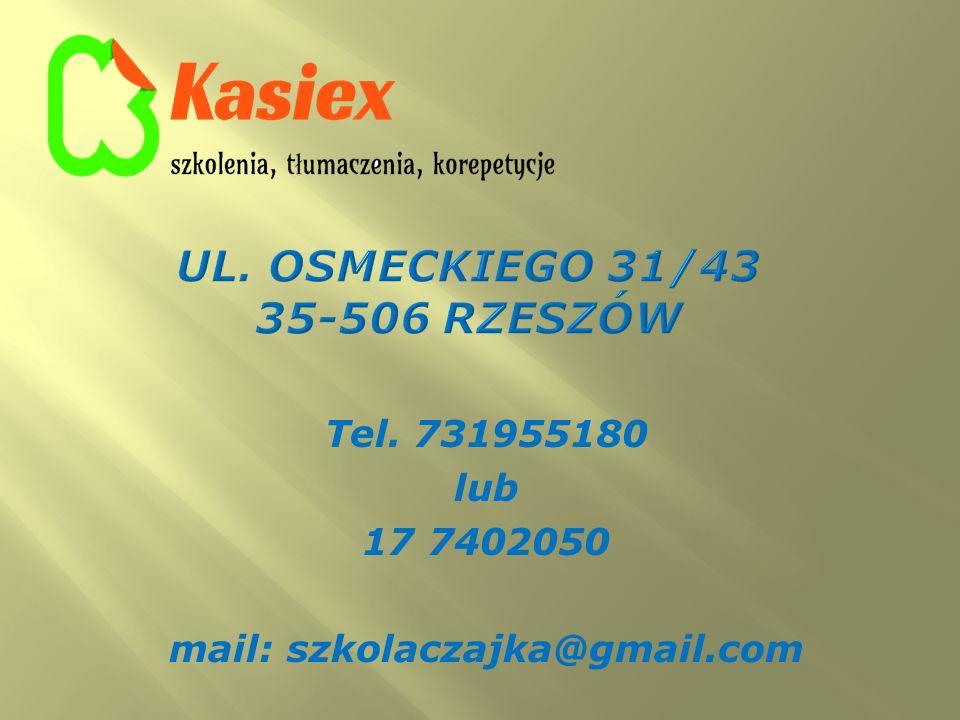 Tel. 731955180 lub 17 7402050 mail: szkolaczajka@gmail.com