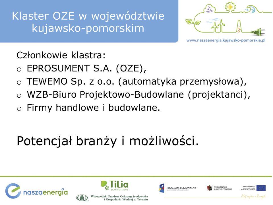 Klaster OZE w województwie kujawsko-pomorskim Członkowie klastra: o EPROSUMENT S.A.