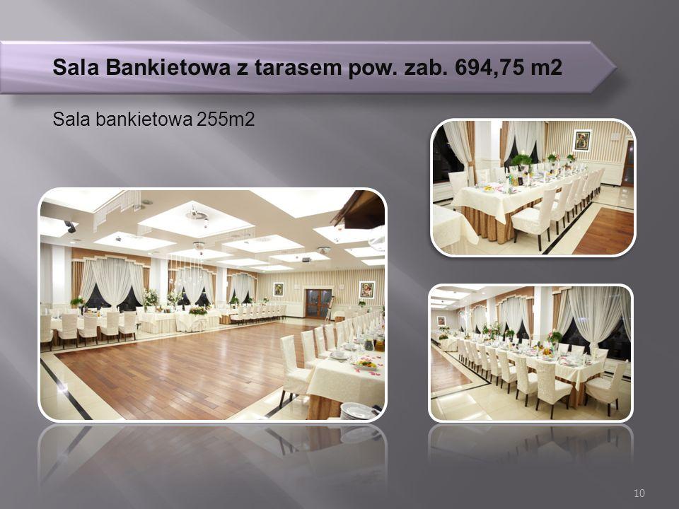 Sala Bankietowa z tarasem pow. zab. 694,75 m2 Sala bankietowa 255m2 10