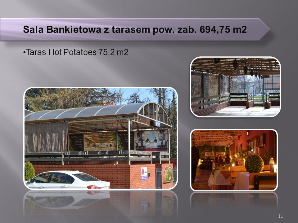 Sala Bankietowa z tarasem pow. zab. 694,75 m2 Taras Hot Potatoes 75,2 m2 11