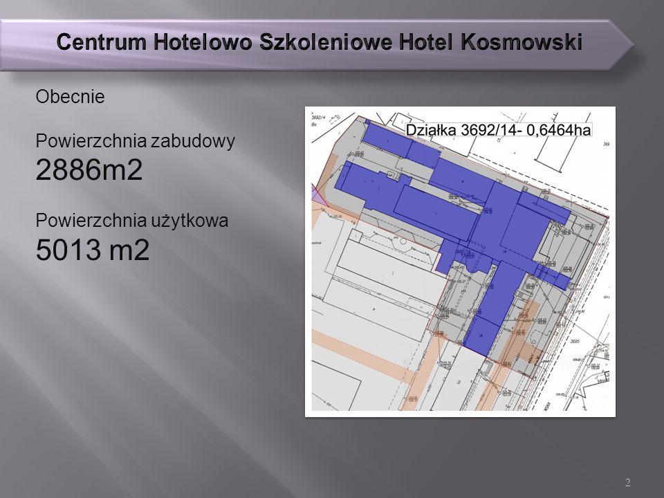 Obecnie Powierzchnia zabudowy 2886m2 Powierzchnia użytkowa 5013 m2 2
