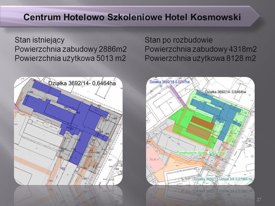 Centrum Hotelowo Szkoleniowe Hotel Kosmowski Stan istniejący Powierzchnia zabudowy 2886m2 Powierzchnia użytkowa 5013 m2 Stan po rozbudowie Powierzchnia zabudowy 4318m2 Powierzchnia użytkowa 8128 m2 27