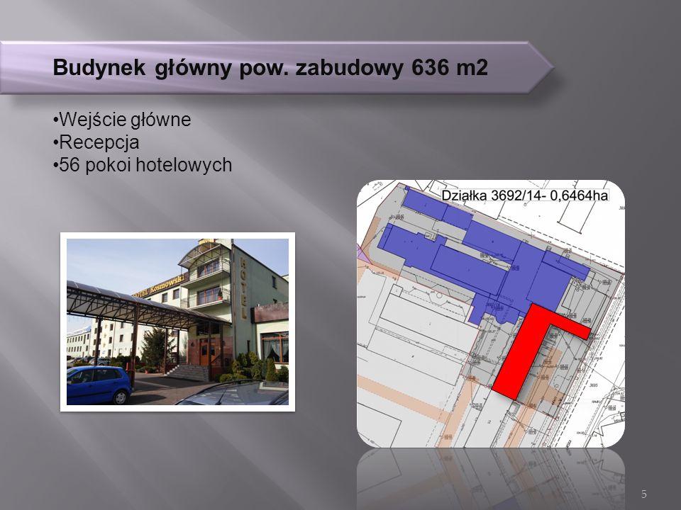 Budynek główny pow. zabudowy 636 m2 Wejście główne Recepcja 56 pokoi hotelowych 5