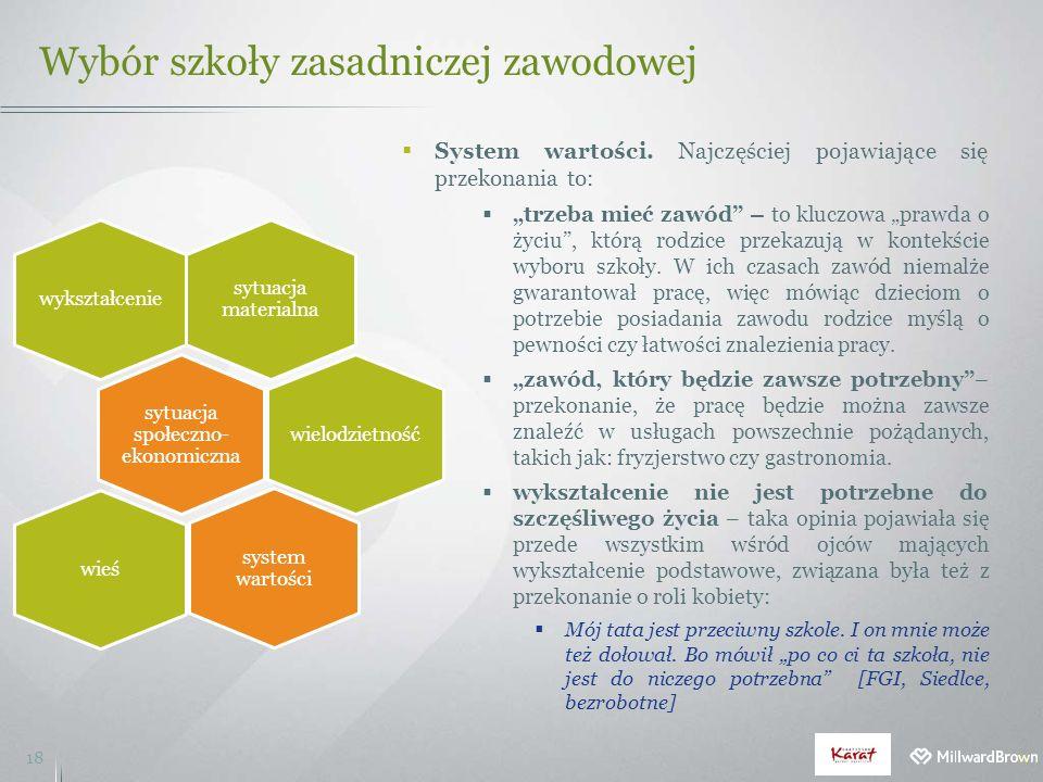 Wybór szkoły zasadniczej zawodowej 18  System wartości.