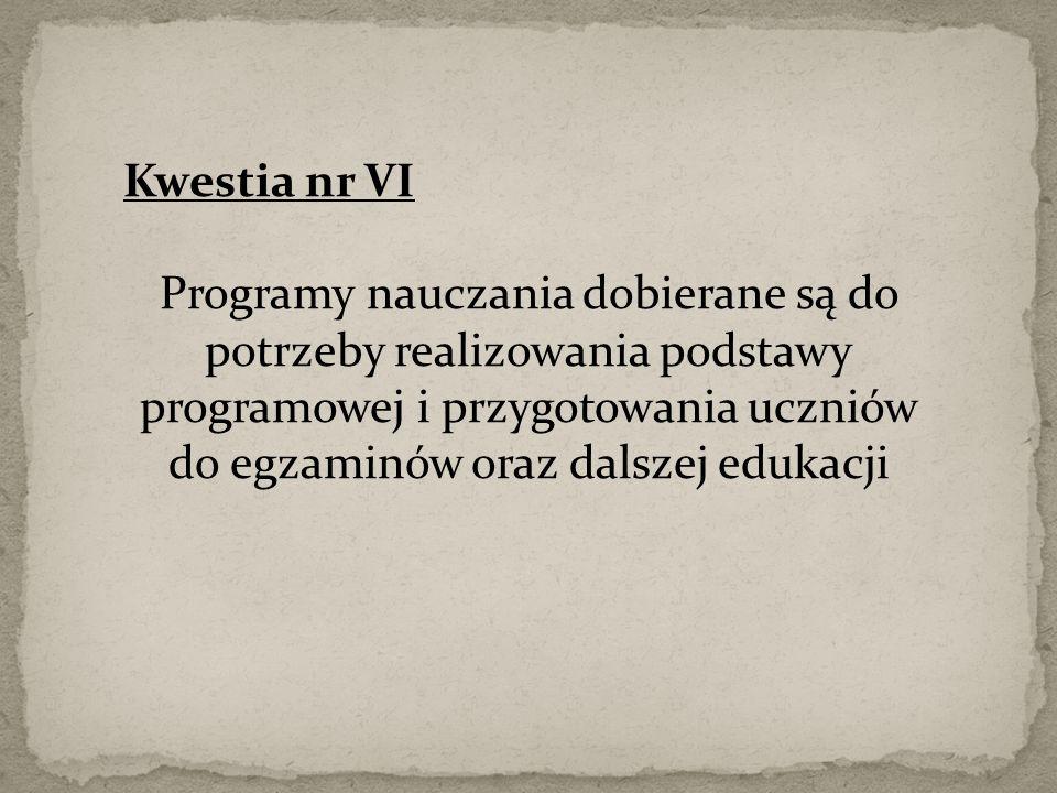 Kwestia nr VI Programy nauczania dobierane są do potrzeby realizowania podstawy programowej i przygotowania uczniów do egzaminów oraz dalszej edukacji