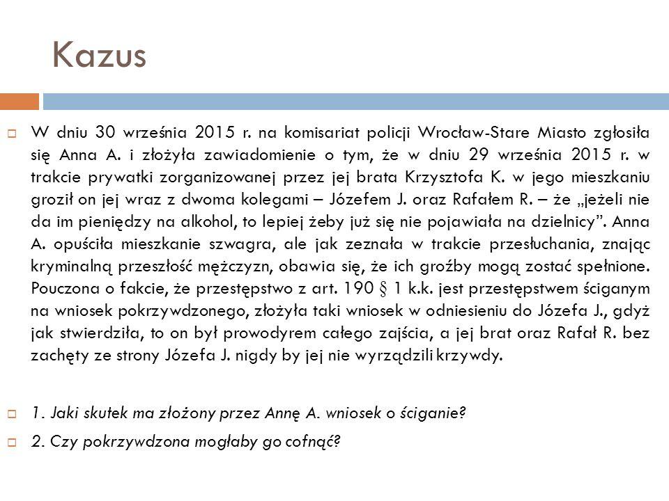 Kazus  W dniu 30 września 2015 r. na komisariat policji Wrocław-Stare Miasto zgłosiła się Anna A. i złożyła zawiadomienie o tym, że w dniu 29 wrześni