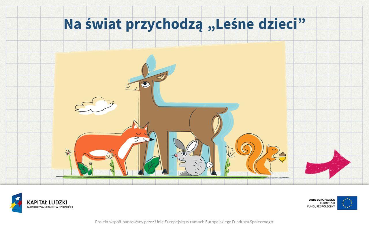 """Na świat przychodzą """"Leśne dzieci"""" Projekt współfinansowany przez Unię Europejską w ramach Europejskiego Funduszu Społecznego."""