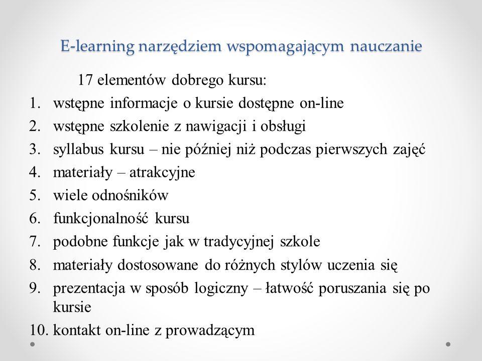 E-learning narzędziem wspomagającym nauczanie 17 elementów dobrego kursu: 1.wstępne informacje o kursie dostępne on-line 2.wstępne szkolenie z nawigac