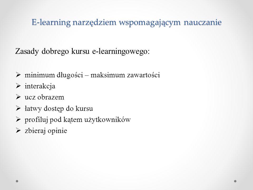 E-learning narzędziem wspomagającym nauczanie Zasady dobrego kursu e-learningowego:  minimum długości – maksimum zawartości  interakcja  ucz obraze