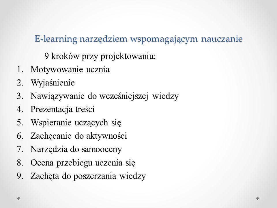 9 kroków przy projektowaniu: 1.Motywowanie ucznia 2.Wyjaśnienie 3.Nawiązywanie do wcześniejszej wiedzy 4.Prezentacja treści 5.Wspieranie uczących się