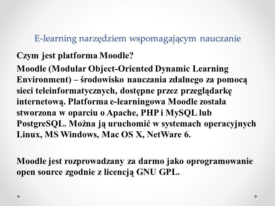 Czym jest platforma Moodle? Moodle (Modular Object-Oriented Dynamic Learning Environment) – środowisko nauczania zdalnego za pomocą sieci teleinformat