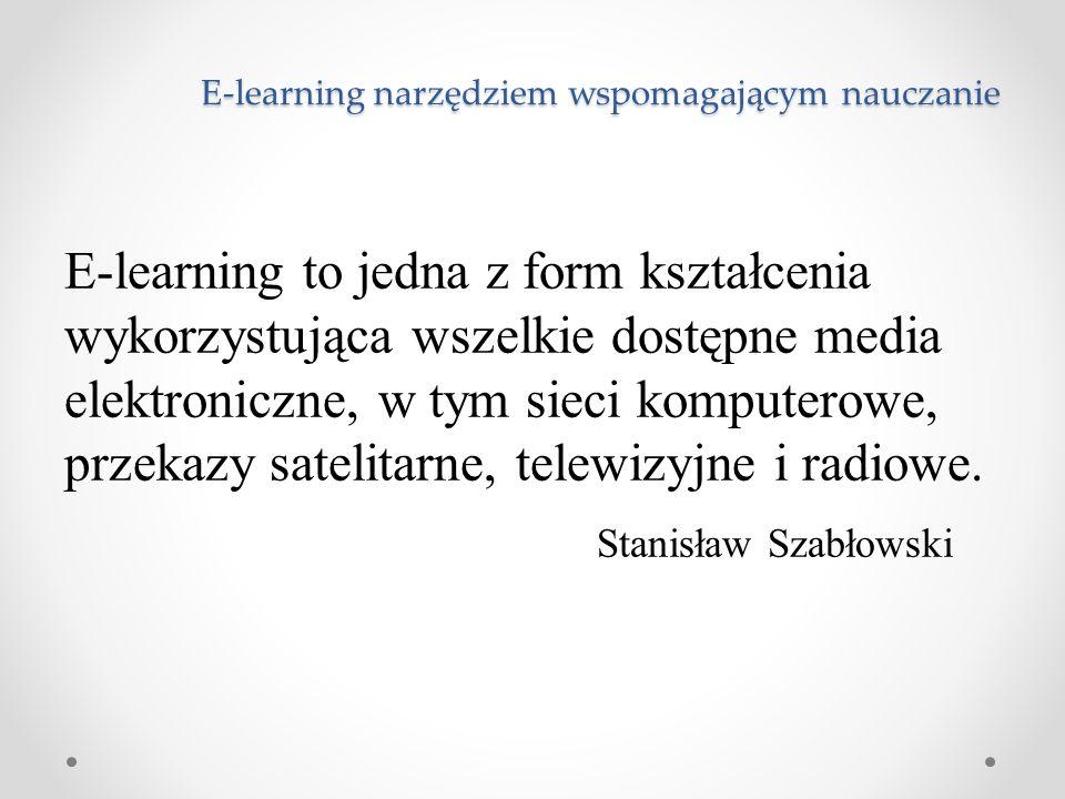 E-learning narzędziem wspomagającym nauczanie E-learning to jedna z form kształcenia wykorzystująca wszelkie dostępne media elektroniczne, w tym sieci