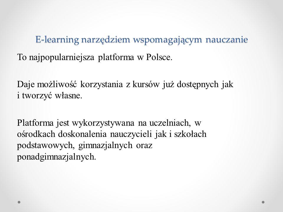 To najpopularniejsza platforma w Polsce. Daje możliwość korzystania z kursów już dostępnych jak i tworzyć własne. Platforma jest wykorzystywana na ucz