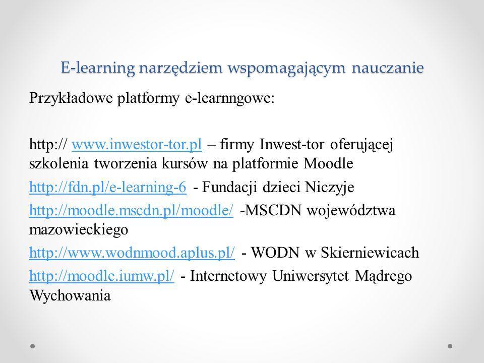 Przykładowe platformy e-learnngowe: http:// www.inwestor-tor.pl – firmy Inwest-tor oferującej szkolenia tworzenia kursów na platformie Moodlewww.inwes