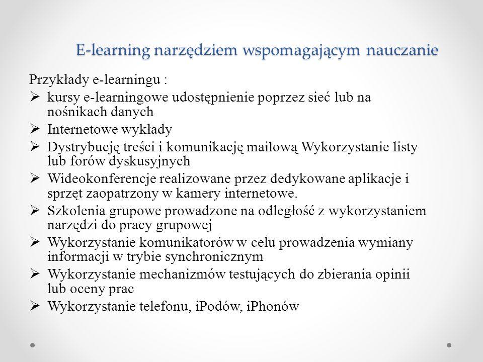 Przykłady e-learningu :  kursy e-learningowe udostępnienie poprzez sieć lub na nośnikach danych  Internetowe wykłady  Dystrybucję treści i komunika