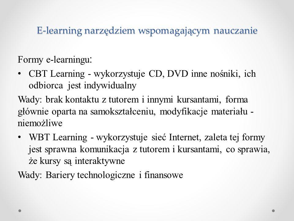 E-learning narzędziem wspomagającym nauczanie Formy e-learningu : CBT Learning - wykorzystuje CD, DVD inne nośniki, ich odbiorca jest indywidualny Wad