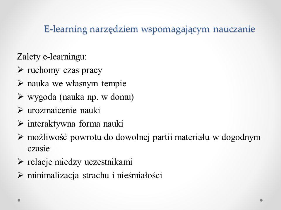 E-learning narzędziem wspomagającym nauczanie Zalety e-learningu:  ruchomy czas pracy  nauka we własnym tempie  wygoda (nauka np. w domu)  urozmai