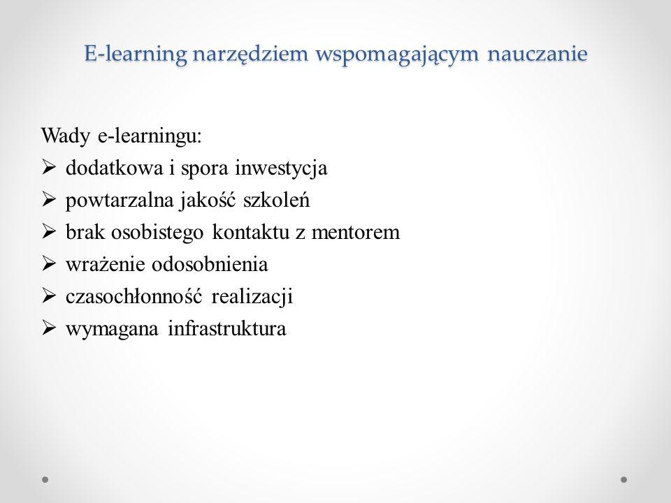 E-learning narzędziem wspomagającym nauczanie Wady e-learningu:  dodatkowa i spora inwestycja  powtarzalna jakość szkoleń  brak osobistego kontaktu