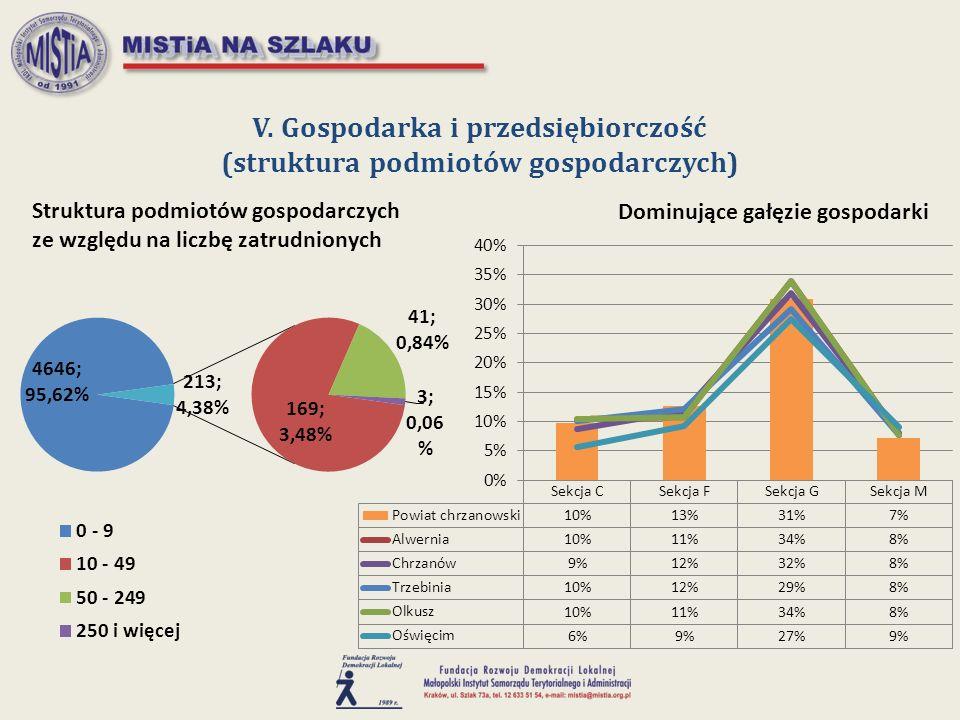 V. Gospodarka i przedsiębiorczość (struktura podmiotów gospodarczych)