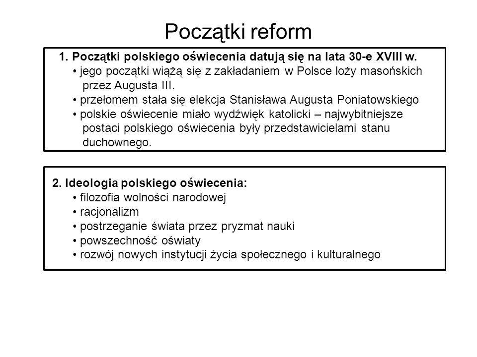 Początki reform 2. Ideologia polskiego oświecenia: filozofia wolności narodowej racjonalizm postrzeganie świata przez pryzmat nauki powszechność oświa