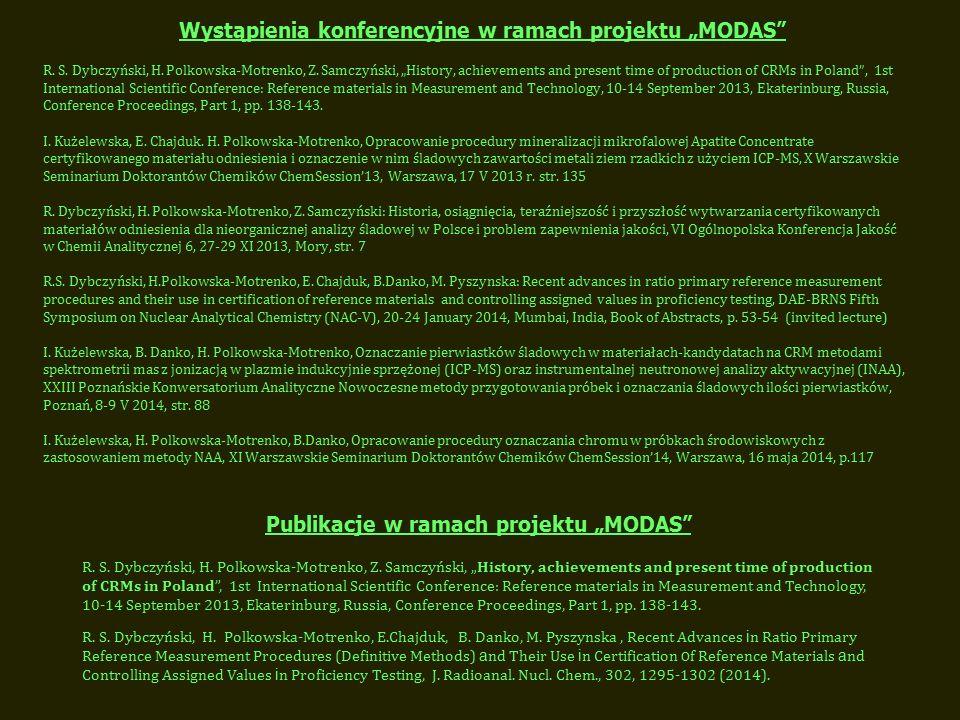 """Wystąpienia konferencyjne w ramach projektu """"MODAS R."""