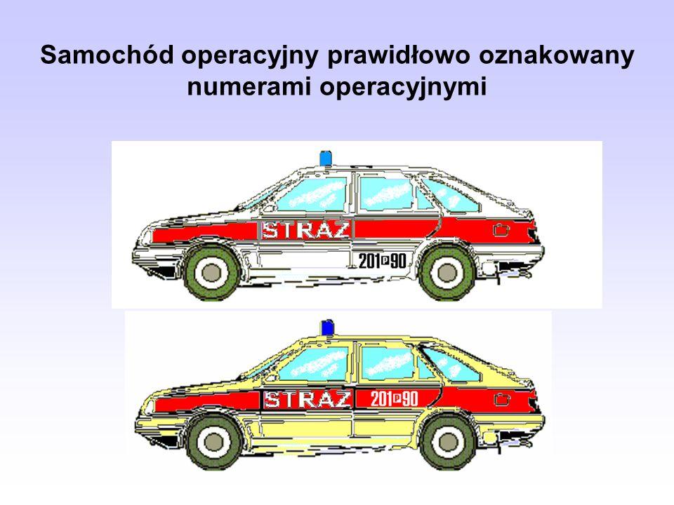 Samochód operacyjny prawidłowo oznakowany numerami operacyjnymi