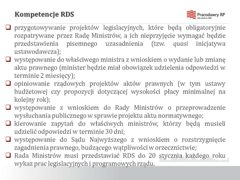 Kompetencje RDS  przygotowywanie projektów legislacyjnych, które będą obligatoryjnie rozpatrywane przez Radę Ministrów, a ich nieprzyjęcie wymagać będzie przedstawienia pisemnego uzasadnienia (tzw.