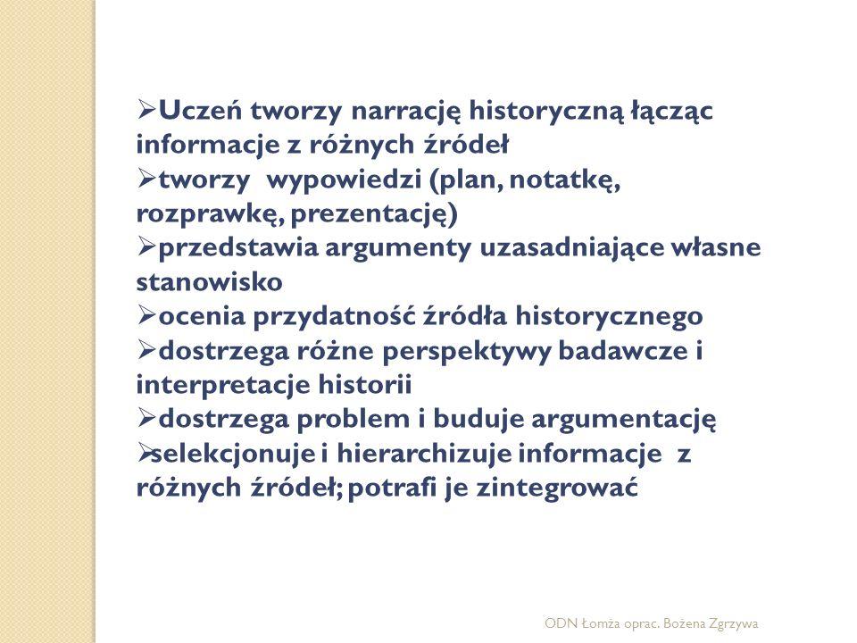ODN Łomża oprac. Bożena Zgrzywa  Uczeń tworzy narrację historyczną łącząc informacje z różnych źródeł  tworzy wypowiedzi (plan, notatkę, rozprawkę,