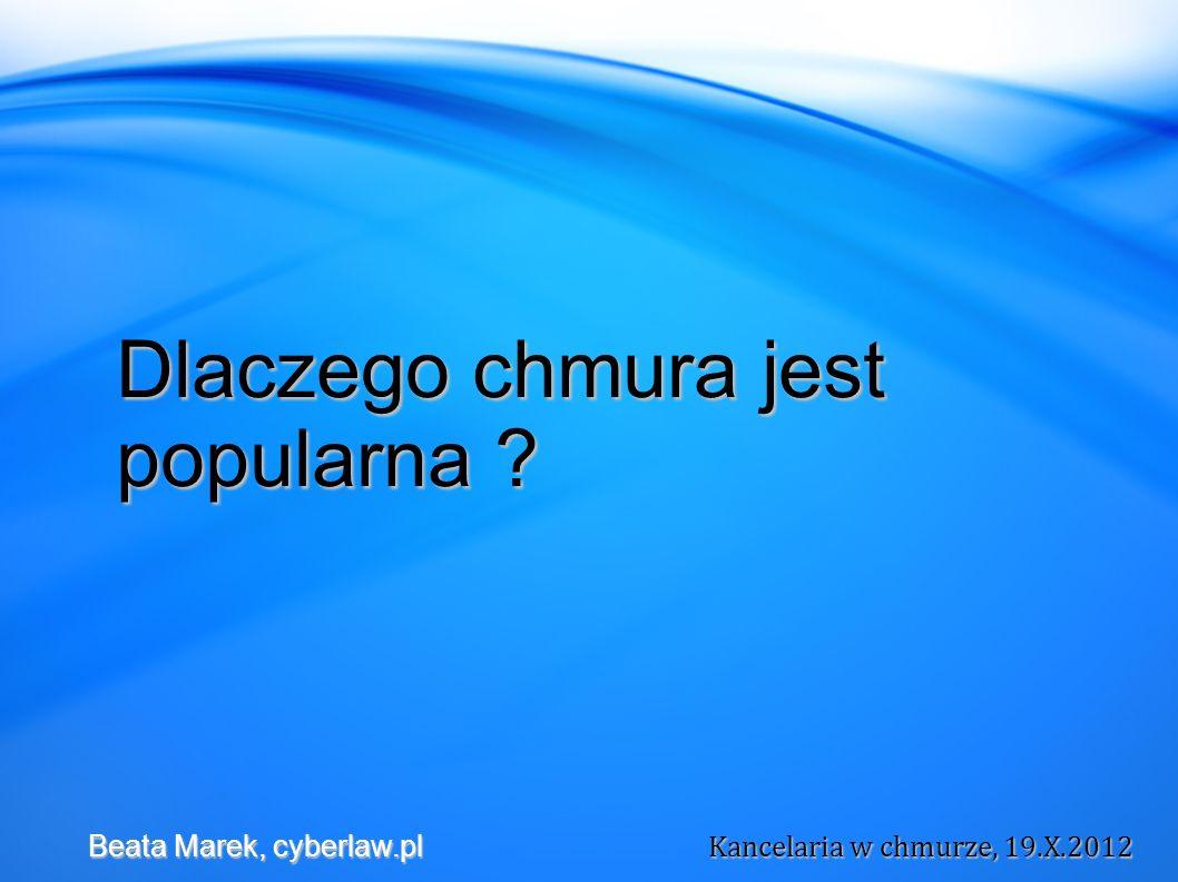 Większa odpowiedzialność spoczywa na usługobiorcy w modelu PaaS niż SaaS Beata Marek, cyberlaw.pl Kancelaria w chmurze, 19.X.2012 Beata Marek, cyberlaw.pl Kancelaria w chmurze, 19.X.2012