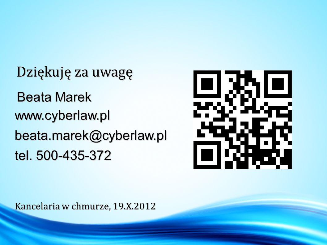 Beata Marek Beata Marekwww.cyberlaw.plbeata.marek@cyberlaw.pl tel.