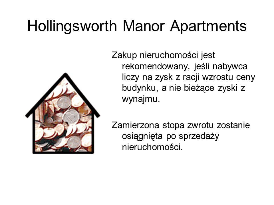 Hollingsworth Manor Apartments Zakup nieruchomości jest rekomendowany, jeśli nabywca liczy na zysk z racji wzrostu ceny budynku, a nie bieżące zyski z