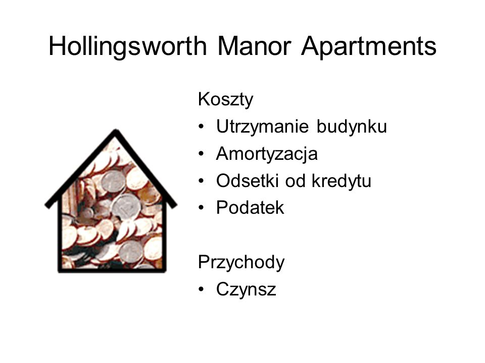 Hollingsworth Manor Apartments Koszty Utrzymanie budynku Amortyzacja Odsetki od kredytu Podatek Przychody Czynsz