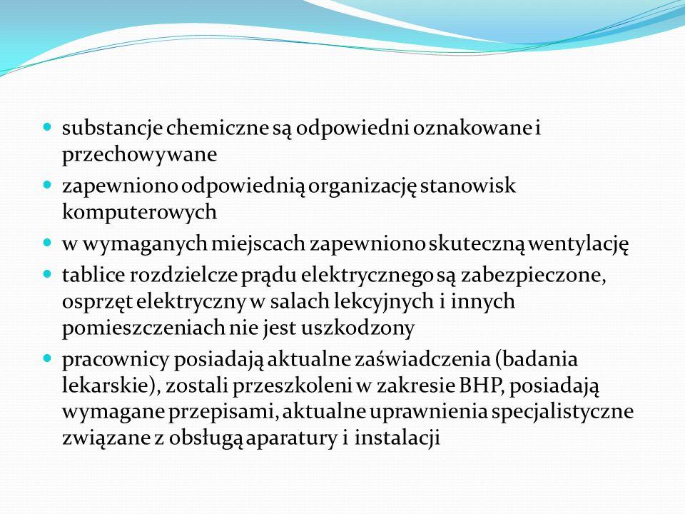 substancje chemiczne są odpowiedni oznakowane i przechowywane zapewniono odpowiednią organizację stanowisk komputerowych w wymaganych miejscach zapewn