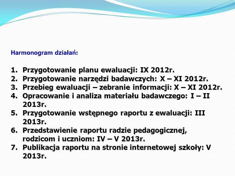 Harmonogram działań: 1.Przygotowanie planu ewaluacji: IX 2012r. 2.Przygotowanie narzędzi badawczych: X – XI 2012r. 3.Przebieg ewaluacji – zebranie inf