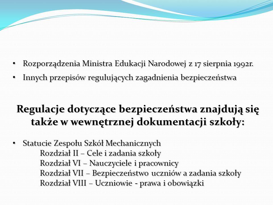 Rozporządzenia Ministra Edukacji Narodowej z 17 sierpnia 1992r.