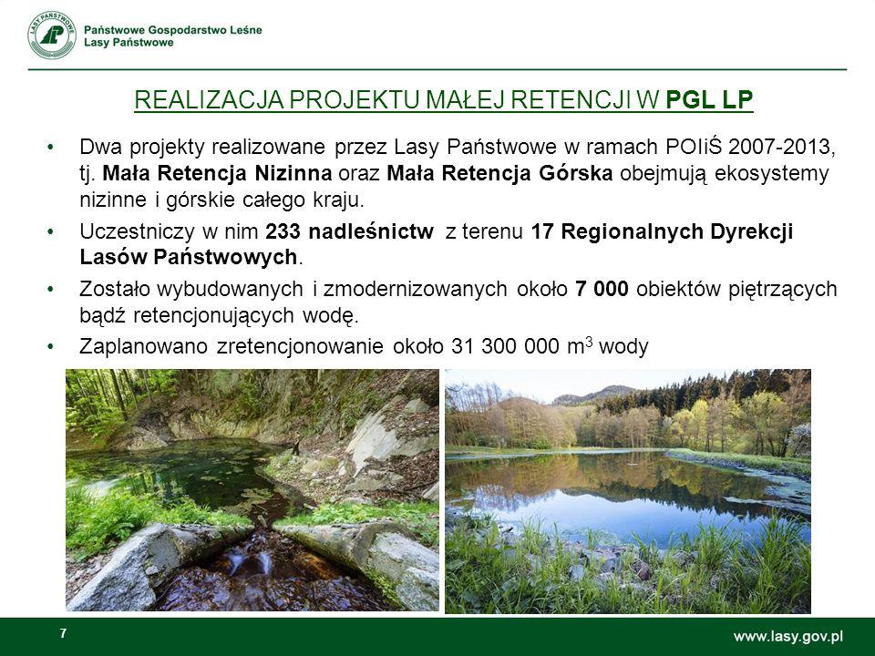 7 REALIZACJA PROJEKTU MAŁEJ RETENCJI W PGL LP Dwa projekty realizowane przez Lasy Państwowe w ramach POIiŚ 2007-2013, tj.