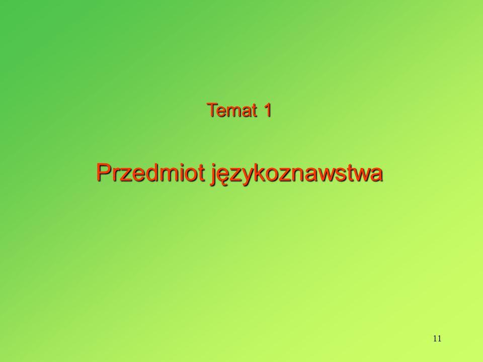 11 Temat 1 Przedmiot językoznawstwa