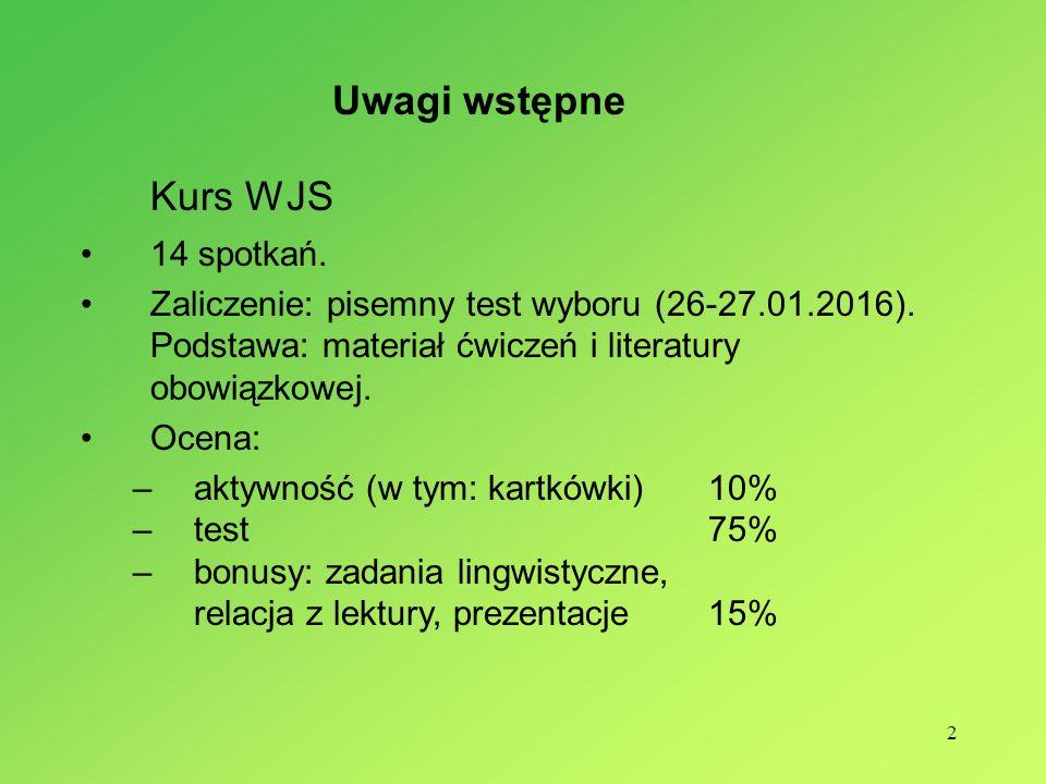 2 Kurs WJS 14 spotkań.Zaliczenie: pisemny test wyboru (26-27.01.2016).